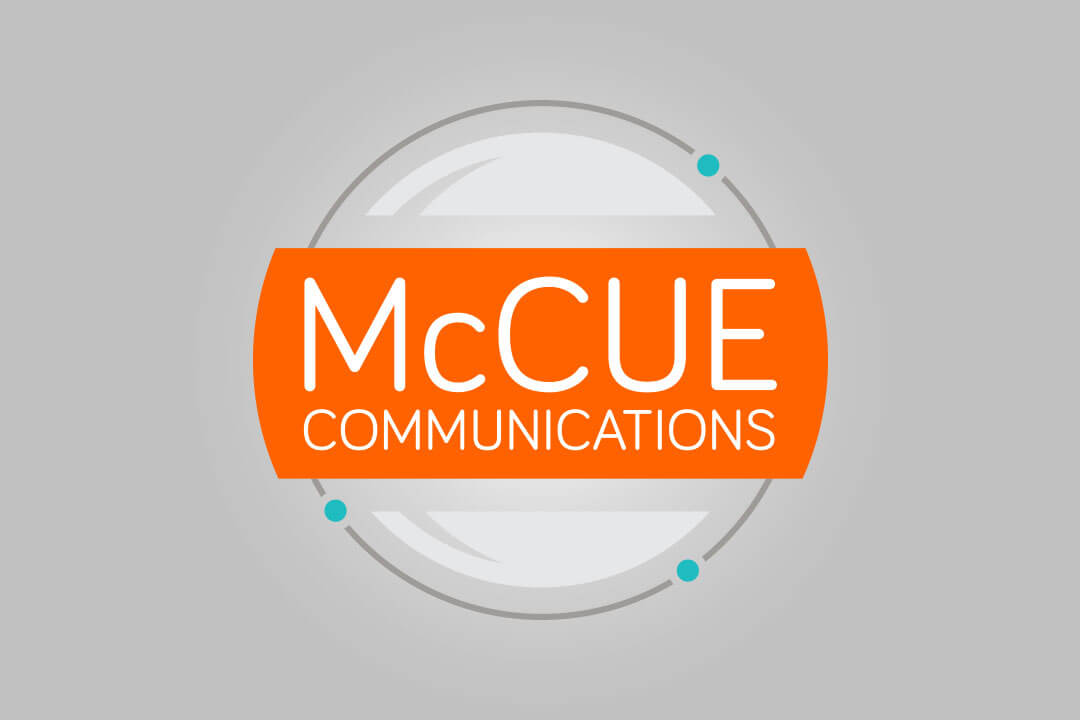 About Page Portfolio Example of the McCue Communications Logo Design