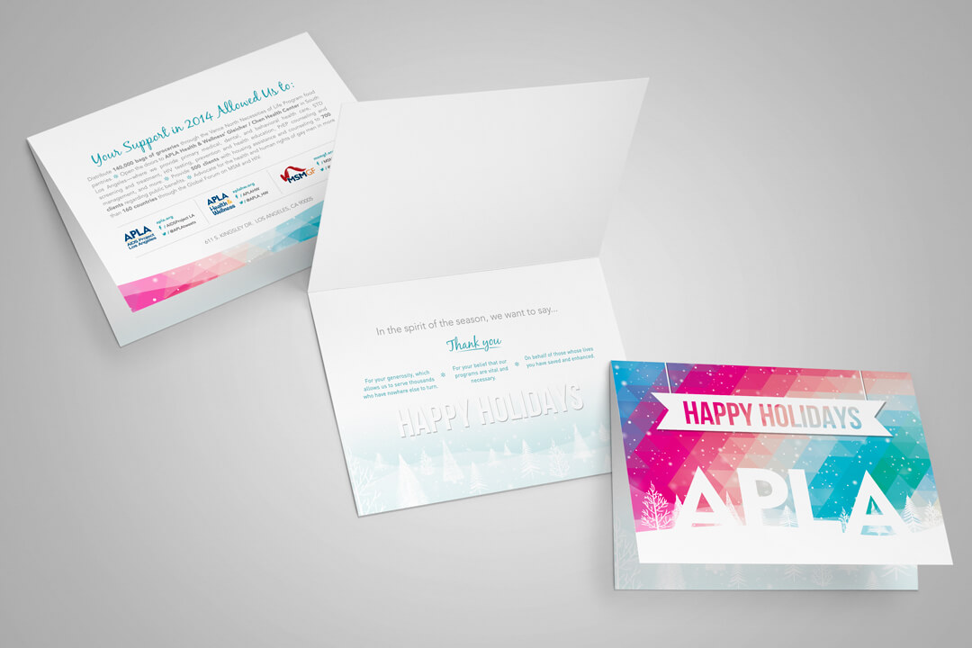 About Page Portfolio Example of a Holiday Greeting Card Graphic Design For AIDS Project Los Angeles