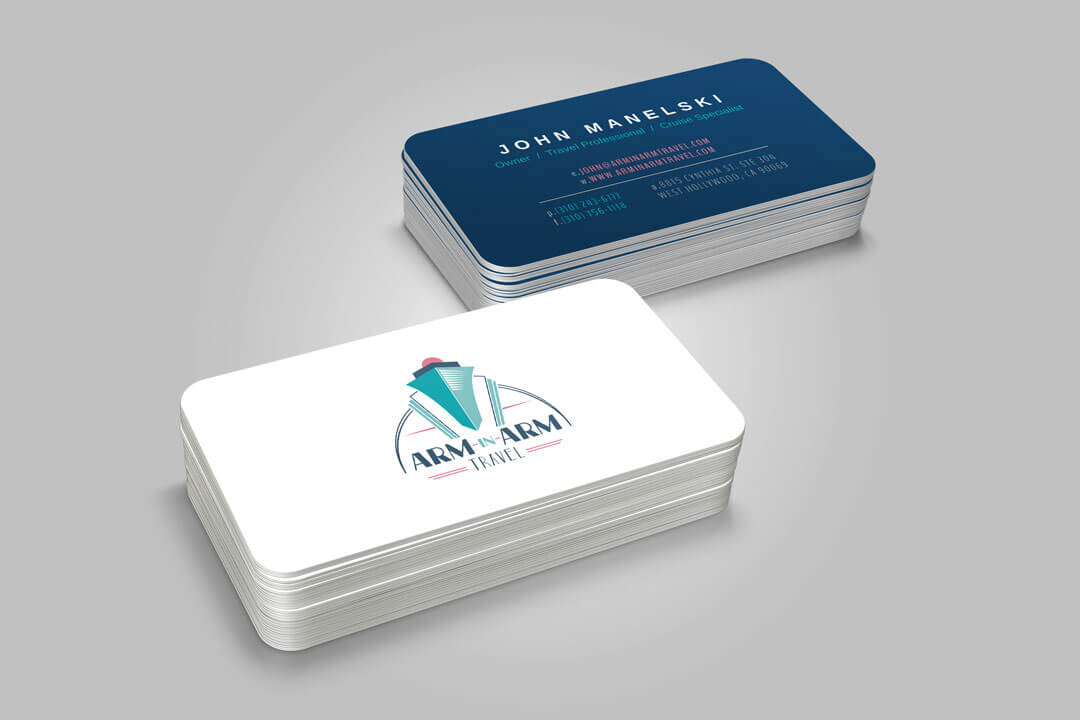 About Page Portfolio Example of the Arm In Arm Business Card Graphic Design