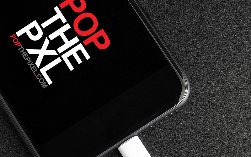 Mockup of POP THE PIXEL's logo design on the home screen of an iPhone.