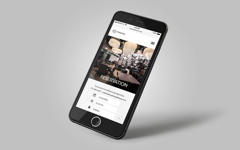 Mockup of 6ssteakhouse.com, a WordPress website, on an iPhone.