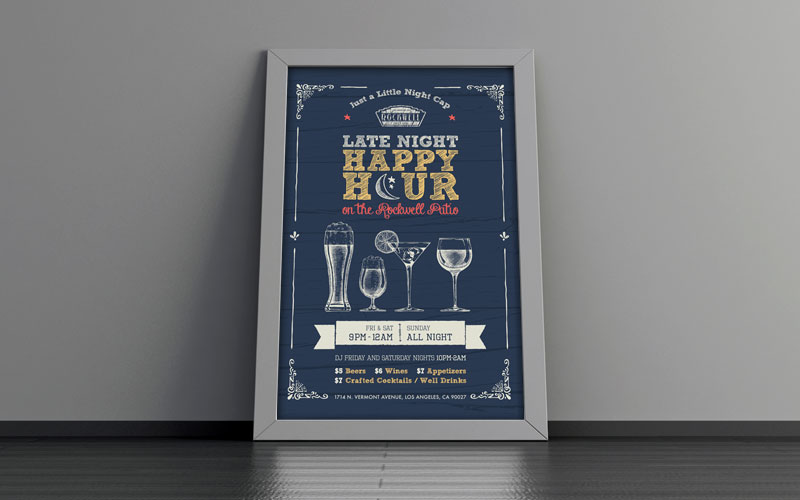 Graphic design mockup of Rockwell's Late Night Happy Hour poster in a frame.