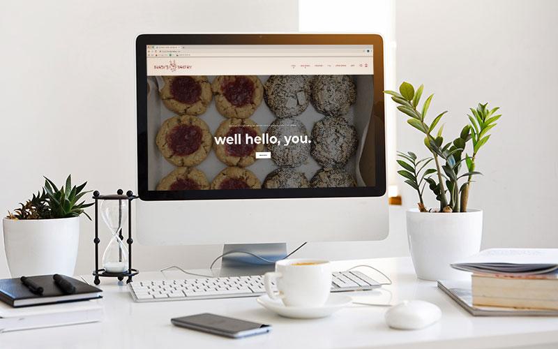 Mockup of bradysbakery.com, a Shopify website, on a computer.
