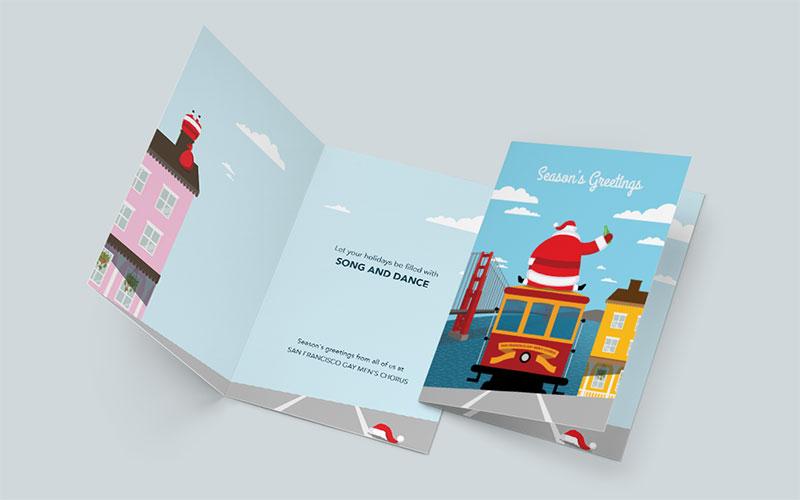 Graphic design mockup of a holiday card design for San Francisco Gay Men's Chorus.