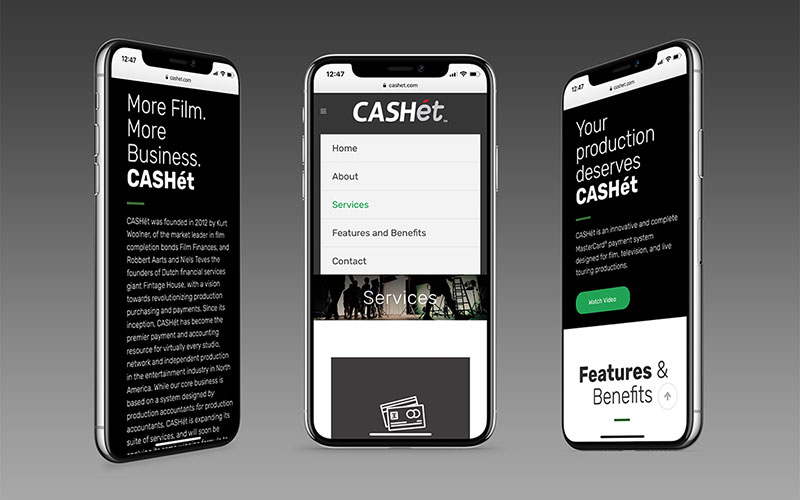 Mockup of cashet.com, a WordPress website, on an iPhone.