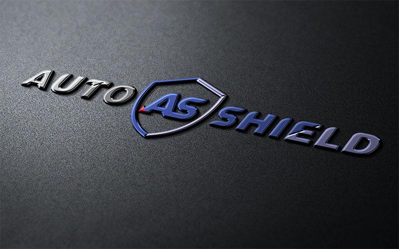 Graphic design mockup of the Auto Shield logo design in 3D.