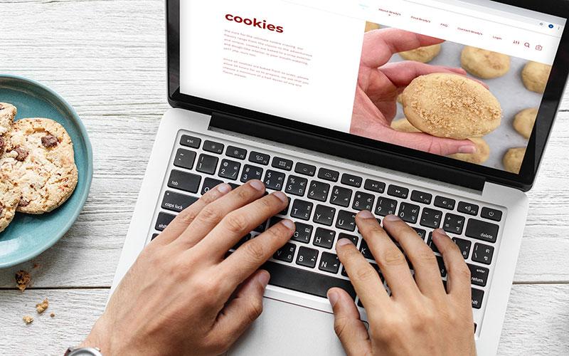 Mockup of bradysbakery.com, a Shopify website, on a laptop.