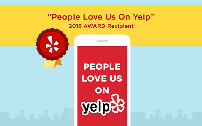 Graphic design image of the People Love Us On Yelp 2018 Award Recipient certificate.
