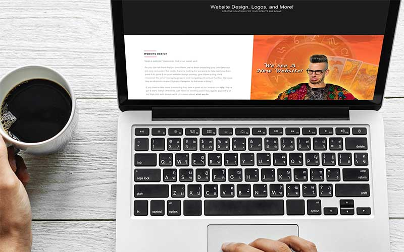 Mockup of popthepixel.com, a WordPress website, on a laptop.