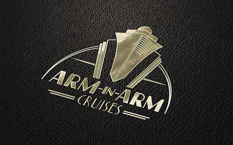 Graphic design mockup of the Arm-In-Arm Cruises logo design printed in gold foil.
