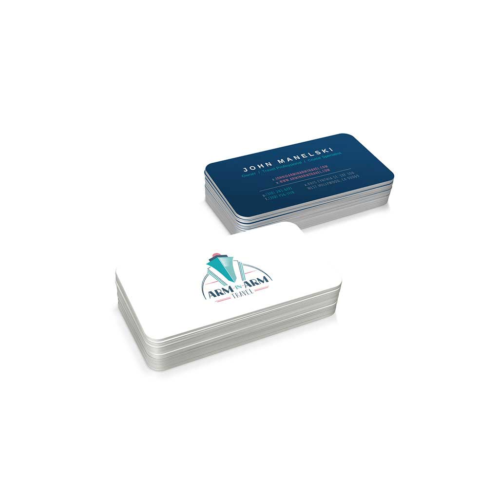 Graphic design mockup of a business card design for Arm-In-Arm Travel.