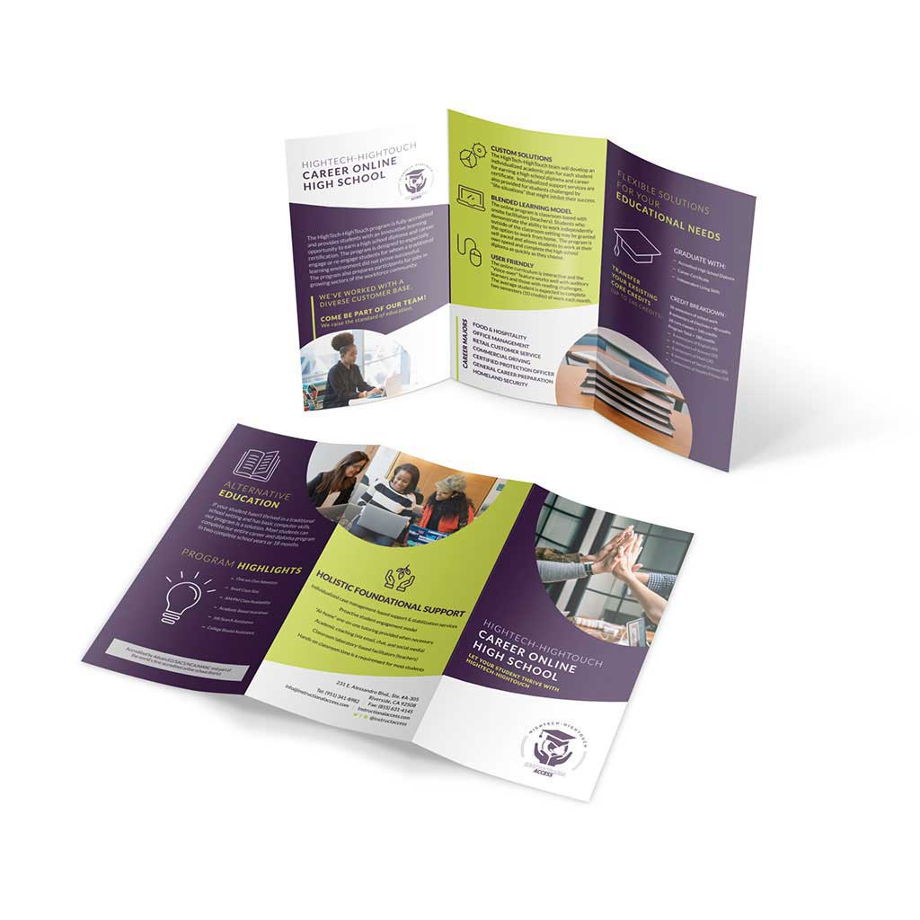 Graphic design mockup of a trifold brochure design for Instructional Access.