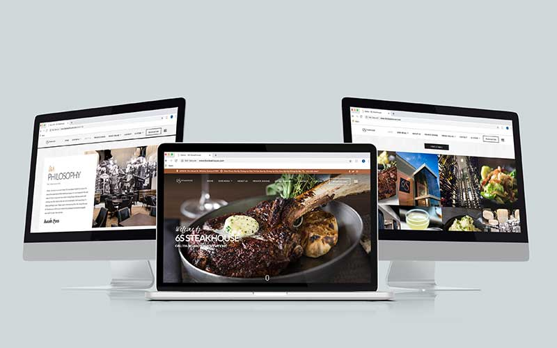 Mockup of 6ssteakhouse.com, a WordPress website, on various computers.