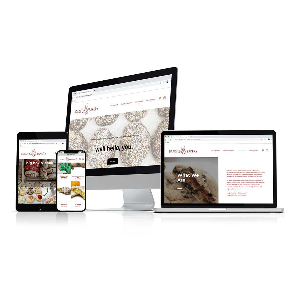 Mockup of bradysbakery.com, a Shopify website, on an iPhone and other computers.
