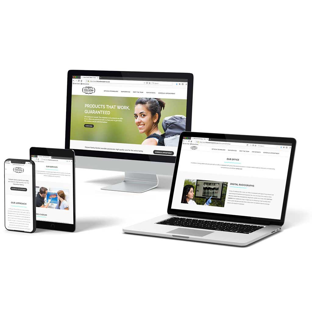 Mockup of folsomfamilydentist.com, a WordPress website, on various computers and mobile devices.