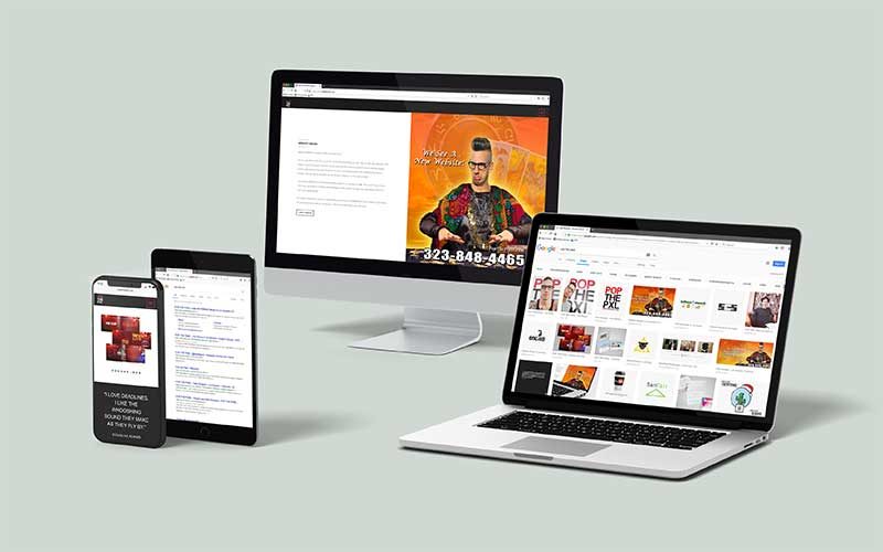 Mockup of popthepixel.com on various devices and computers.