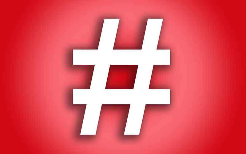 Graphic design image of a hashtag.