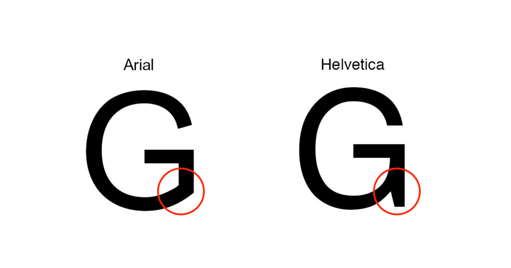 The Difference Between Arial And Helvetica As Demonstrated By Capital G